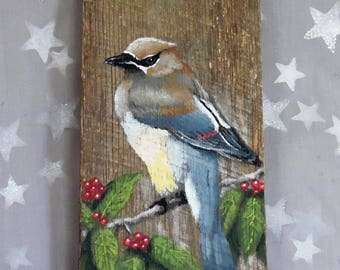 "Cedar Waxwing, songbird, authentic barnwood, rustic, hand painted, 5"" x 12"""