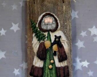 """Cuddly Teddy Bear, Santa Claus, original art on aged barnwood, 5 1/2"""" x 12"""""""