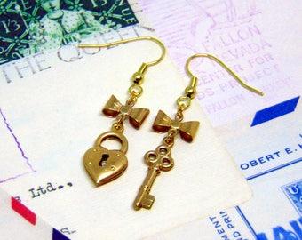 Heart Lock and Key Earrings - Key to my Heart Gift - Mismatched Earrings - Love Lock Jewellery