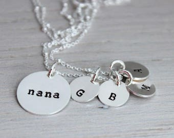 nana initials necklace | mothers day gift for nana | granny necklace | grand kids initials | grandmother gift | oma necklace