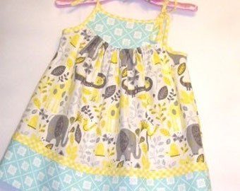 Little Girl's/Toddler Girl's/Baby Girl's Sundress in Yellow, White and Blue with Safari Print in Gray, Yellow, White