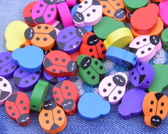 50 Assorted color wooden beads, Painted beetle wood beads, Jewelry wood beetle Beads, Colorful wood Beetle, wood beetle pendant 15x20mm
