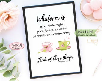 Tea Cup Print, Inspirational Print, Christian Print, Office Print, Kitchen Print, Girls Room Decor, Digital Download, Pink and Green