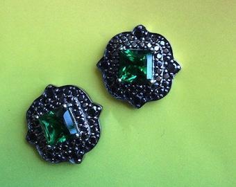 FREE SHIPPING Art deco inspired earrings black sterling artisan