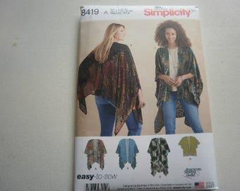 Pattern Ladies Kimono Wraps in 4 Styles Sizes XS - XL Simplicity 8419