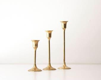 Vintage 1980s Modern Brass Candlestick Set
