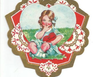 1930s Vintage Valentine Card Reversible Card Girl in Field Heart Shaped Valentine's Day Card