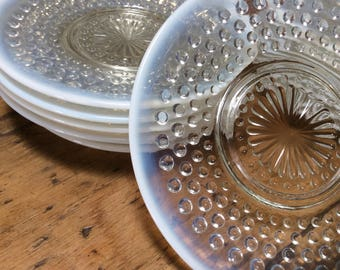 Vintage 1930 Set of 14 Saucers, Tea or Small Plates, Milk & Clear Hobnail Pattern Glass, Mint Condition, First Time on Market