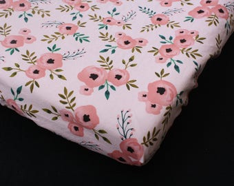 Fitted Crib Sheet/Changing Pad Cover/Mini Crib Sheet in - Pink Coral Flowers Nursery Print - by Mommy Moxie on Etsy
