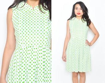 WHITE GREEN POLKA Dot 60's Mod Mini Dress . High Waist. Full Pleated Skirt. V Neck. Vintage 1960's Mod Polka Dot Pattern Dress. Size S