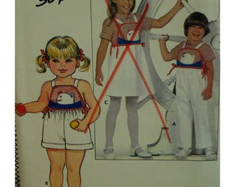 Childs Romper Pattern, Bib Front, Straps, Shorts/Shirt/Pants, Applique, Sunsuit, Back Button Shirt, Butterick No. 4770 UNCUT Size 3 4 5 6 6X