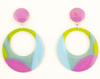 Vintage round pastel colors earrings
