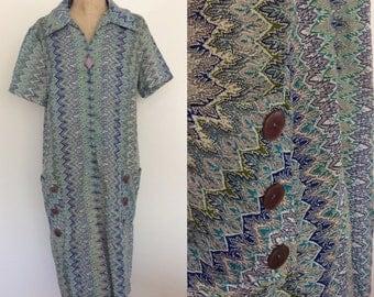 1960's Cotton Chevron Stripe House Dress Blue Vintage Zip Up Shift Dress Plus Size XL XXL by Maeberry Vintage