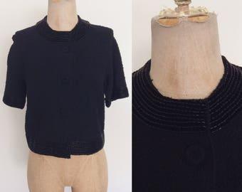 1960's Black Knit Boxy Wool Cardigan Sweater w/ Velvet & Beaded Collar Size Medium by Maeberry Vintage