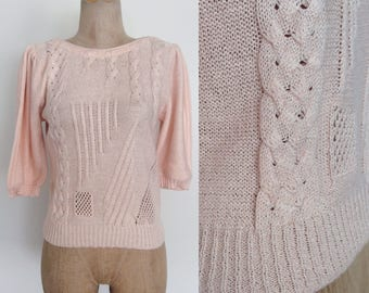 1980's Soft Pink Acrylic Pullover Sweater Size Small by Maeberry Vintage