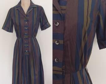 "1950's Striped Cotton Collared Shirtwaist Dress Size Small 26"" Waist by Maeberry Vintage"
