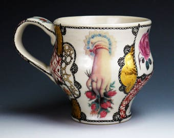 Kaffee Tasse (coffee cup), handpainted porcelain