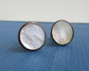 2 Antique Shirt Collar Buttons / Studs - Pearl & Gold Tone