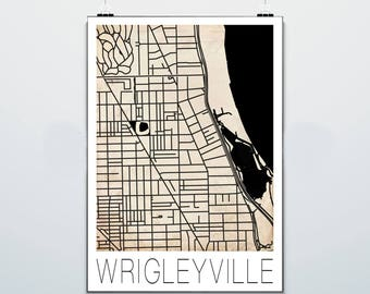 Chicago Map - Wrigleyville - Print - Poster - Wrigleyville Nation - Chicago Cubs - Vintage - Grunge
