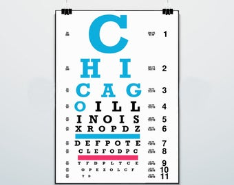 Chicago Eye Chart - Print - Poster - Wrigleyville Nation - Chicago Cubs