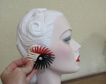 """Large Fabulous Vintage Retro 1950's Red Black White Fancy 3"""" Earrings with Rhinestones-0000-0"""