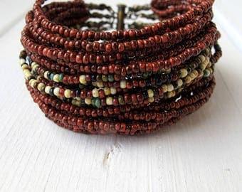 Multi Strand Cuff Bracelet, Bohemian Thick Layered Cuff, Czech Picasso Glass Jewellery, Boho Chic Seed Bead Bracelet, Earthy Oxblood Mix