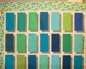 Rectangle Shadow  Large Throw Quilt