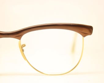 Unused Vintage 1/10 12K Brown Gold Cat Eye Glasses Aluminum NOS