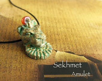 Sekhmet Amulet - Small Lioness Goddess head and Carnelian Solar Disc - She Who Is Powerful - Handcrafted Pendant -Aged Golden Brass Patina