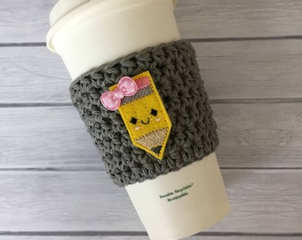 Back to school, coffee cozy, cup cozy, back to school gift, crochet cozy, crochet coffee cozy, cup cozy, teacher gift, pencil cup drink cozy