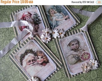 4 Christmas Hang Tags Cottage Chic Gift Tag Soft Green Pink Nordic French