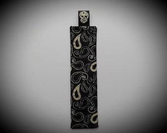 Skull/Paisley Bookmark - Handsewn, Fabric, Black/Ivory