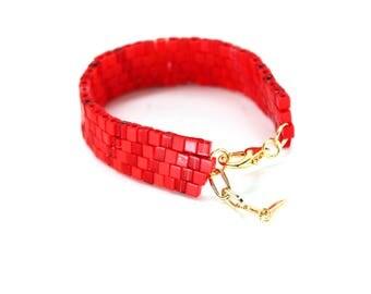 Beaded Bracelet in Red