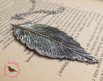 Long Silver Leaf Pendant Necklace, Silver Leaf Necklace, Long Silver Layering Necklace, Long Boho Feather, by MagpieMadnessJewelry on Etsy