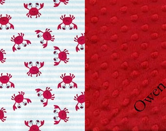 Minky Baby Blanket, Receiving Blanket, Red Minky Blanket,Boy Blanket,Minky Blanket, Baby Boy Blanket, Crab Minky, Baby Shower Gift