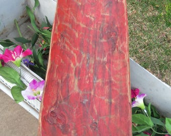 """23"""" Hand Carved Wood Dough Bowl, Painted, Red , Rustic, Farmhouse, Centerpiece"""