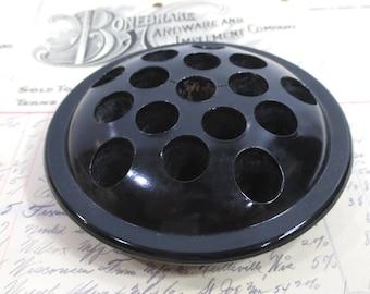 Vintage Black Glass Flower Frog for Flowers, Scissors, Pencils, Pens, Garden, Office, Kitchen Decor
