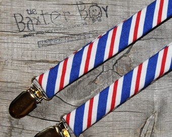 Red, White & Blue diagonal stripe little boy suspenders - photo prop, wedding, ring bearer, accessory