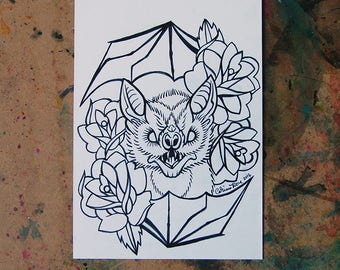 ORIGINAL Drawing Inktober - Black and White Pen and Marker Traditional Tattoo Flash Bat Drawing