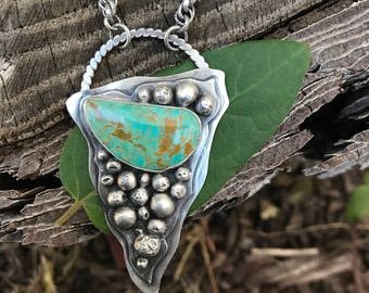 Urchin - Natural Turquoise Necklace - Sterling Silver
