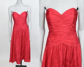 Vintage 90s Dress / 1990s Red Floral Silk Strapless Midi Dress S