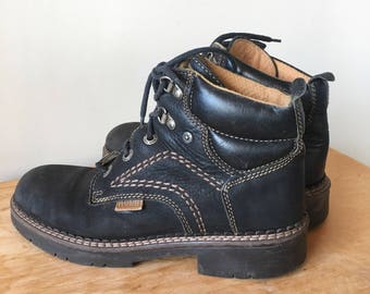 Vintage 90s Black Leather Hiking Boots, Leather Cuff Boots, Ankle Boots, Lace Up Boots, Made in Italy, Size 7.5