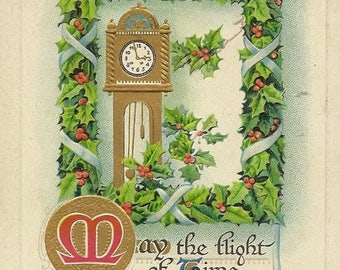 Grandfather Clock Holly Accents and Christmas Greeting Embossed Antique Christmas Postcard 1913 With American Red Cross Stamp Birn Brothers