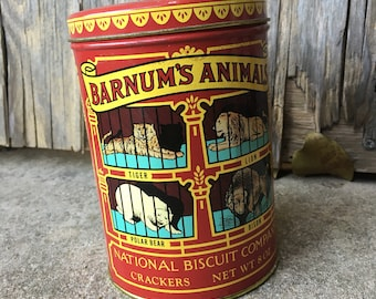 Primitive Barnum's Animals Biscuit Circus Tin