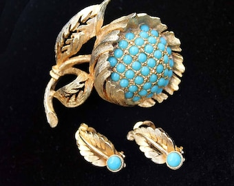 Vintage SPHINX of England Turquoise Cabochon Floral Motif Brooch and Earring Demi