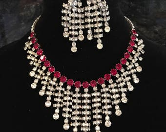 Vintage Rhinestone Necklace in Red and Clear sparkling Austrian rhinestones perfect bridal wedding jewelry Christmas or Mother of the bride