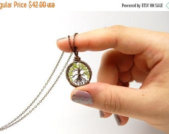 20% OFF Vacation SALE Miniature Small Tiny Tree of Life Necklace in Antique Copper and Green Peridot Stone.