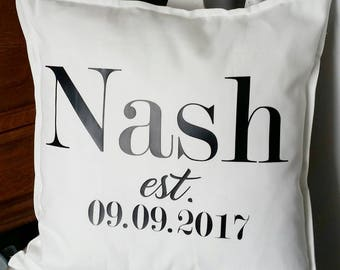 Wedding date pillow, wedding, est pillow, surname pillow, Mr Mrs pillow, pillow,
