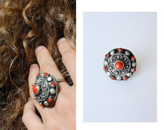 Vintage Indian Ring • Glass Bead Ring • Large Brass Ring • Floral Filigree Ring • Coral Stone Ring • Vintage Statement Ring | R281