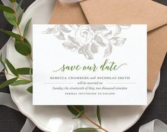 Botanical Save the Date Card / 'Vintage Rose' Rustic Vintage Calligraphy Wedding Card / Sage Forest Green or Custom Colours / ONE SAMPLE